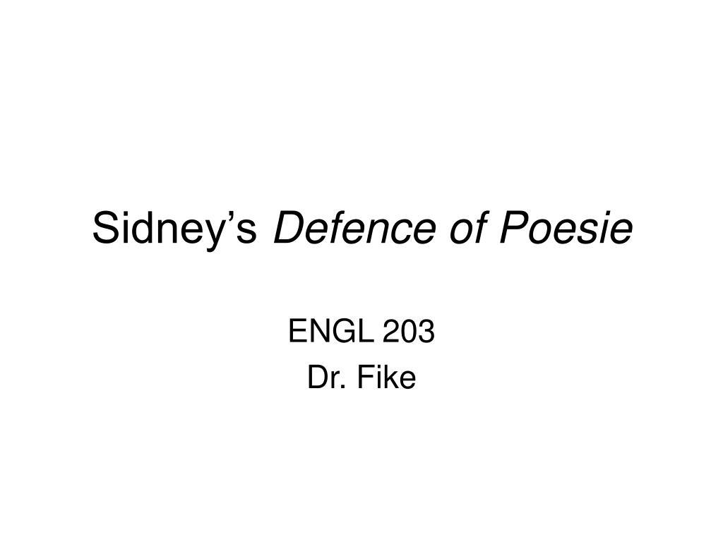 sidney s defence of poesie l.