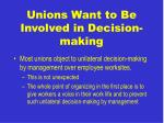 unions want to be involved in decision making