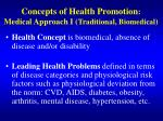 concepts of health promotion medical approach i traditional biomedical