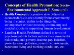 concepts of health promotion socio environmental approach i structural