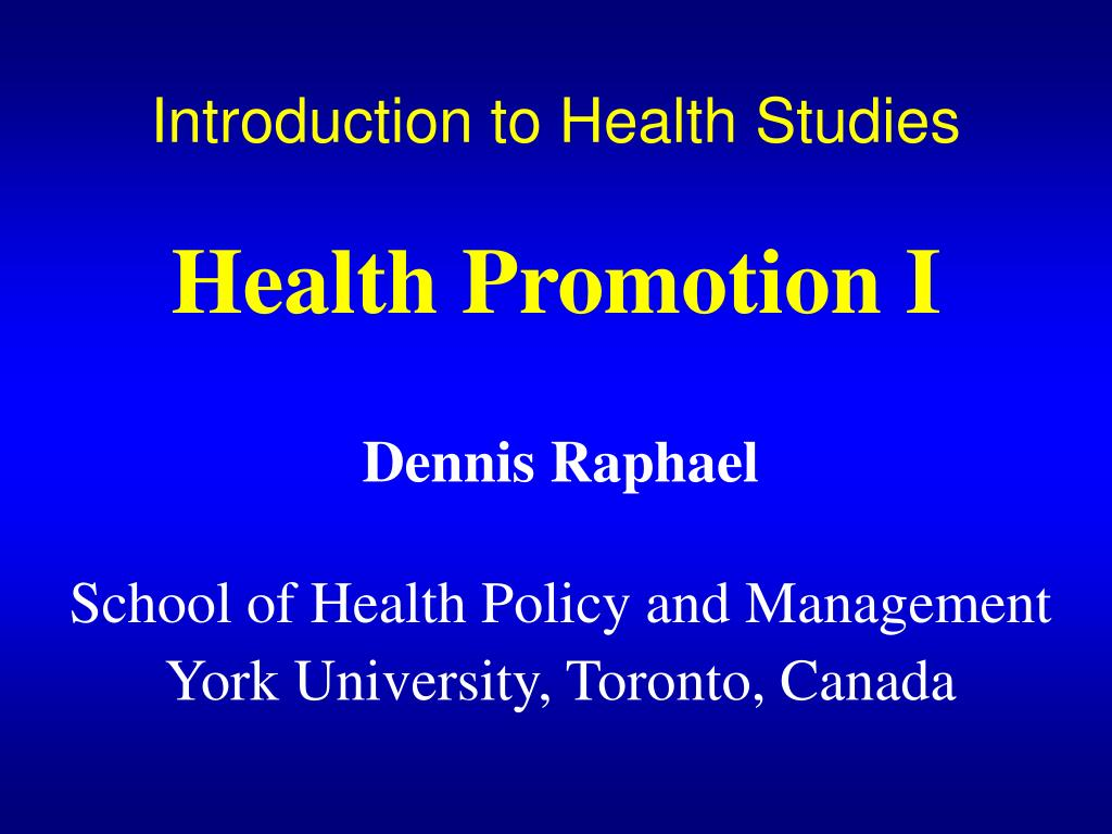 introduction to health studies health promotion i l.