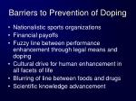 barriers to prevention of doping