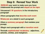 step 9 reread your work