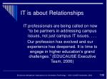 it is about relationships