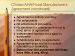 clinton aha food manufacturers agreement continued