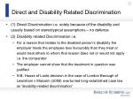direct and disability related discrimination