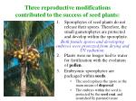 three reproductive modifications contributed to the success of seed plants