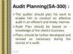 audit planning sa 300