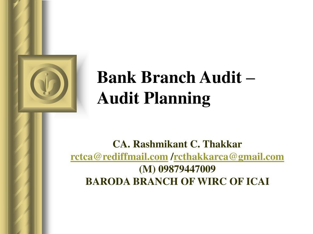 bank branch audit audit planning l.