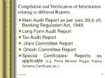 compilation and verification of information relating to different reports