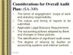 considerations for overall audit plan sa 300