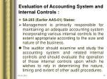 evaluation of accounting system and internal controls
