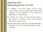 reporting under banking regulation act 194933