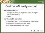 cost benefit analysis cont