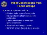 initial observations from focus groups