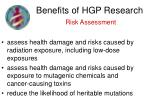 benefits of hgp research risk assessment