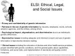 elsi ethical legal and social issues