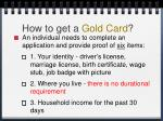 how to get a gold card
