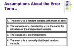 assumptions about the error term e