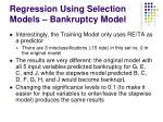 regression using selection models bankruptcy model103