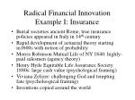 radical financial innovation example i insurance