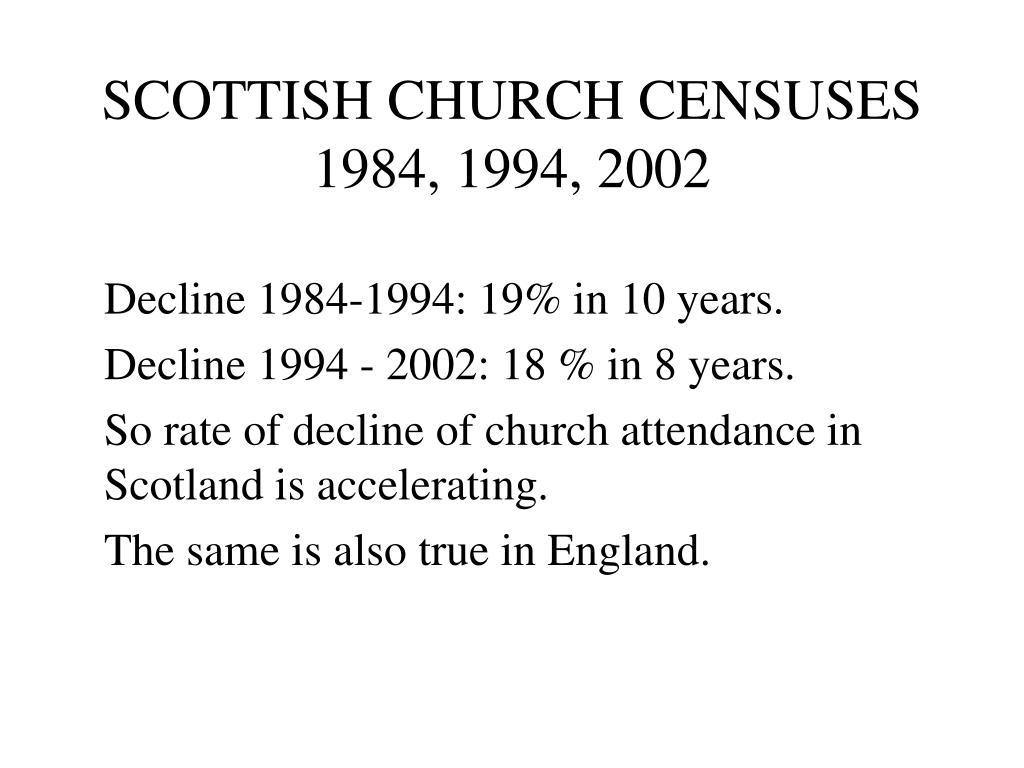 SCOTTISH CHURCH CENSUSES 1984, 1994, 2002