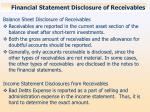 financial statement disclosure of receivables