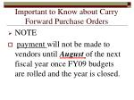 important to know about carry forward purchase orders