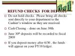 refund checks for deposit