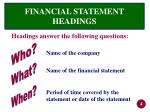 financial statement headings