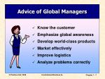 advice of global managers
