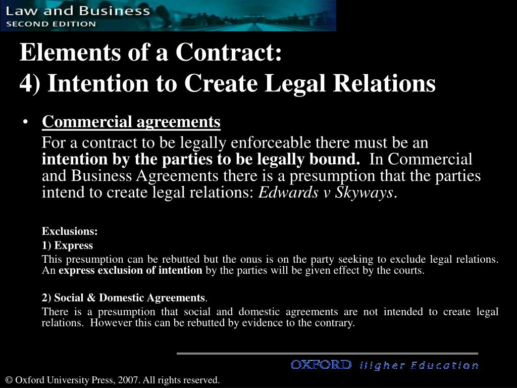 intention create legal relations Quite often in transactions or when signing an agreement, an issue may crop up which the parties agree to deal with post completion or post execution of an agreement.