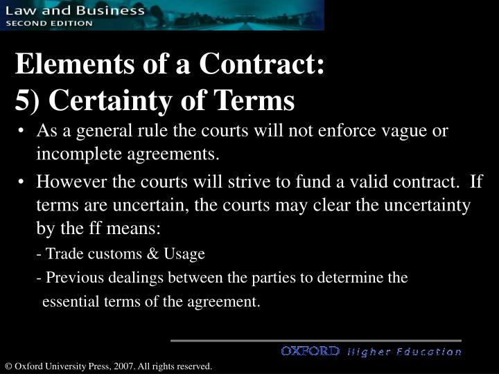 Attractive Elements Of A Contract: 5) Certainty Of Terms