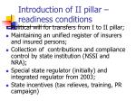 introduction of ii pillar readiness conditions