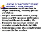 linking of contribution and benefits policy measures
