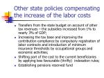 other state policies compensating the increase of the labor costs
