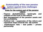 sustainability of the new pension system against time challenges
