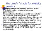 the benefit formula for invalidity pensions