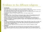 evidence in the different religions
