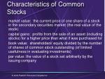 characteristics of common stocks