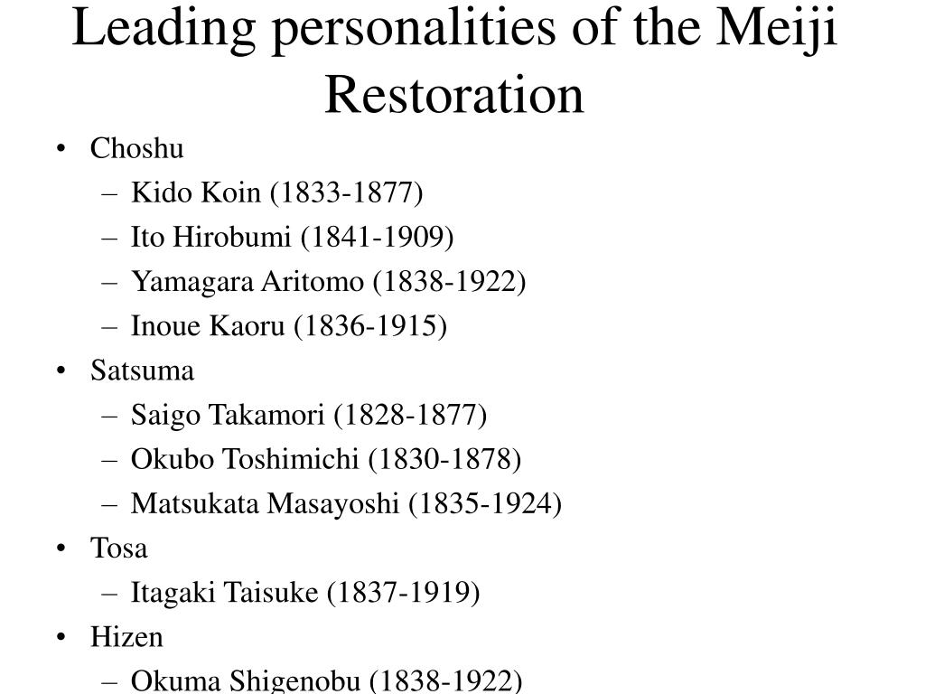 Leading personalities of the Meiji Restoration