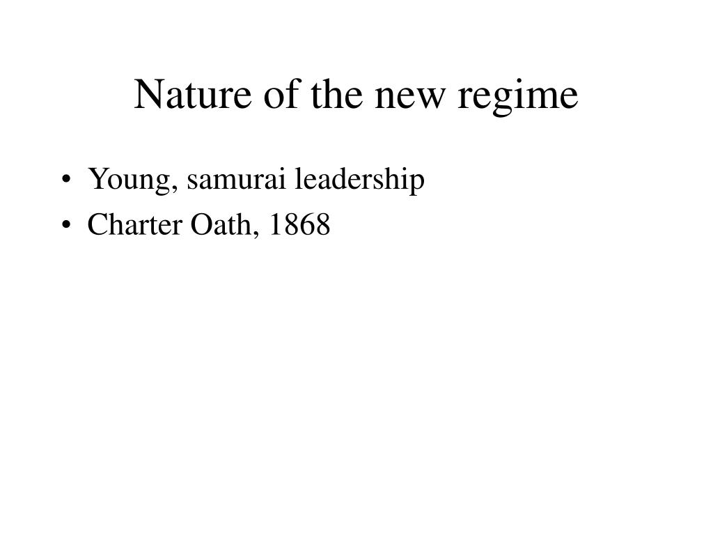 Nature of the new regime