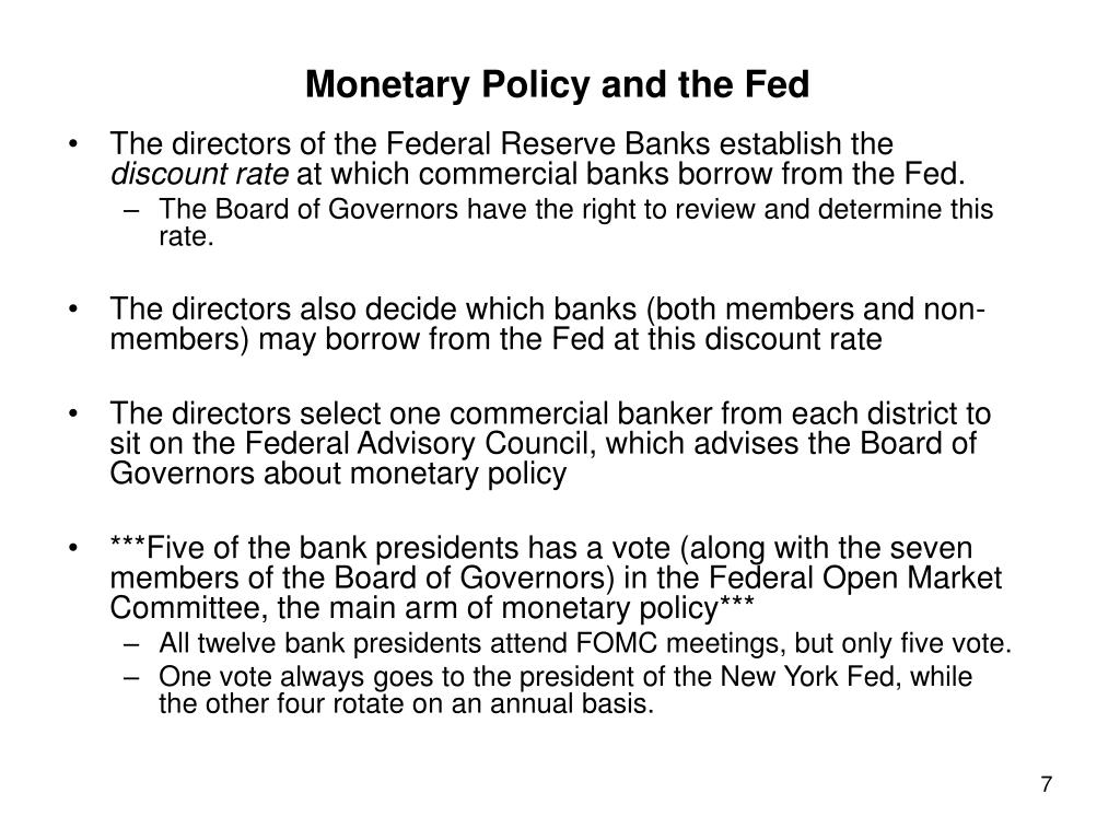 PPT - The Organization of The Fed and other Central Banks