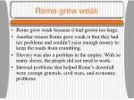 rome grew weak