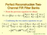 perfect reconstruction two channel fir filter banks3