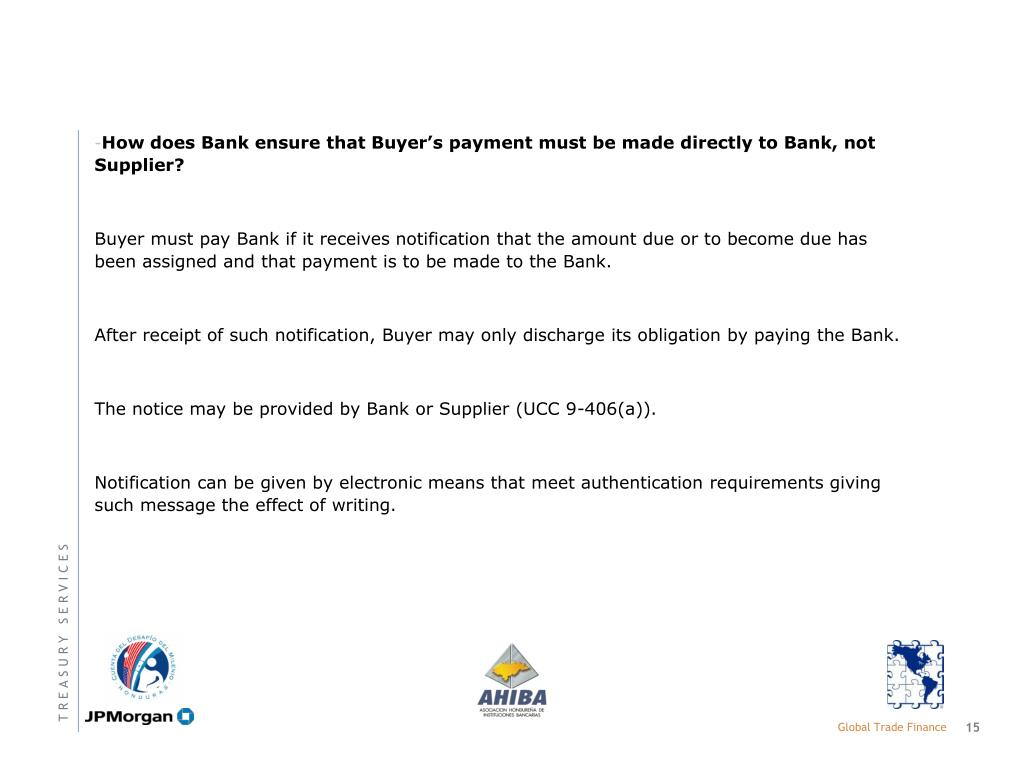 How does Bank ensure that Buyer's payment must be made directly to Bank, not Supplier?