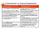 1 internal unit vs external organization