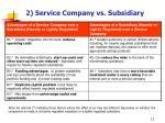 2 service company vs subsidiary