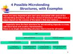 4 possible microlending structures with examples