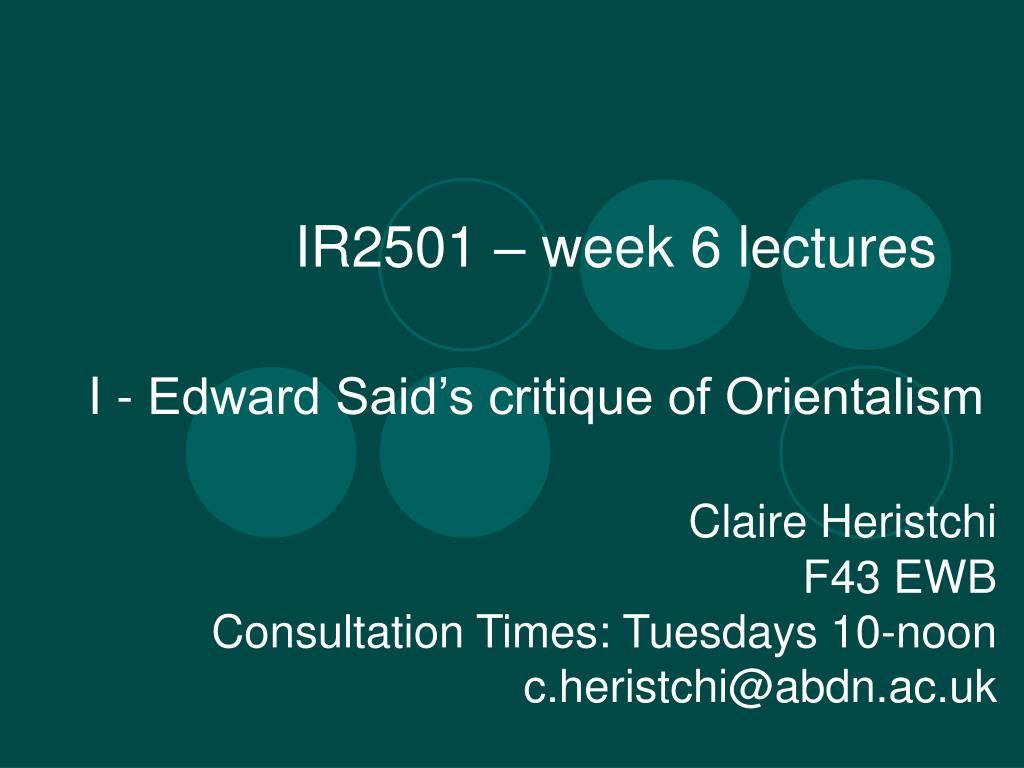 ir2501 week 6 lectures l.